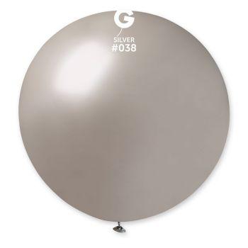 1 Riesiger Ballon Silber Ø80cm