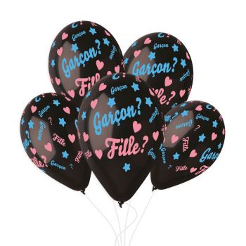 5 Ballons Konfetti gender reveal Ø33cm