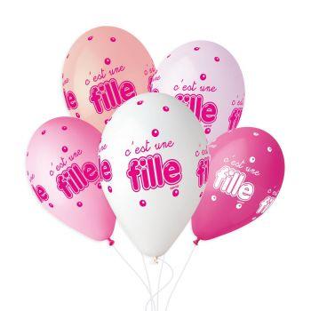 5 Ballons ist ein Mädchen Ø33cm