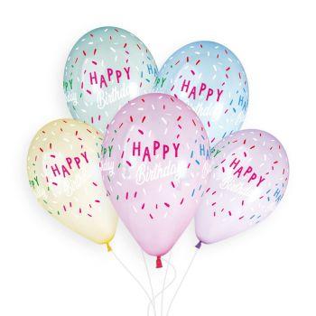 5 Pastellballen Happy Birthday Ø33cm