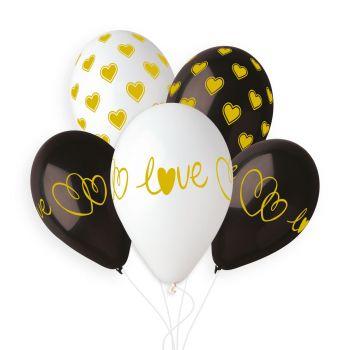 5 Ballons herz love black gold Ø33cm