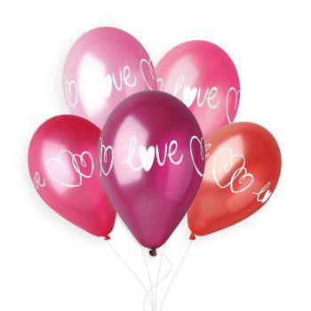 5 Herz-Ballons Love Ø33cm