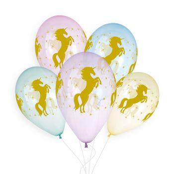 5 luftballon Pastell-Kristall-Einhorn Ø33cm