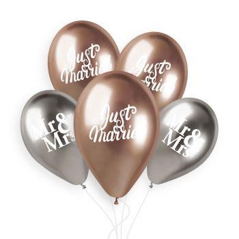 5 Ballons silber und gold rose Just Married Ø33cm