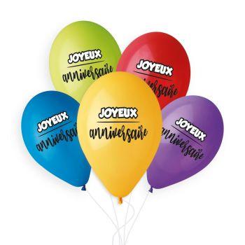 5 Bunte Ballons Happy Birthday Ø33cm