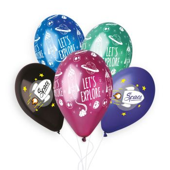 5 Ballons Mehrfarbig Space Ø33cm