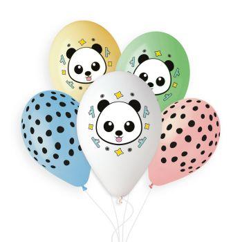 5 Panda Pastellballons Ø33cm