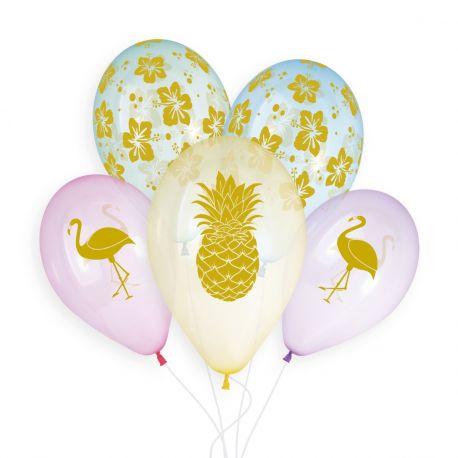 Beutel mit 5 Latex-Ballons in Pastellkristall-Farbe mit tropischen Golddruck!Ø 33cm