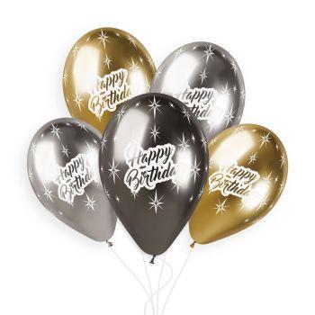 5 Ballons Happy Birthday Shiny Ø33cm