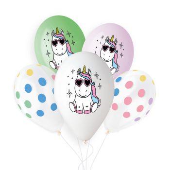 5 Ballons Pastel Licorne Fun Ø33cm