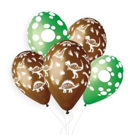 Beutel mit 5 Passenden Latex-Ballons mit Druck-Kulissen zum Thema Dinosaurier!Ø 33cm