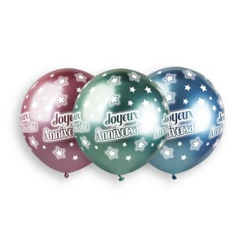 3 Ballons Happy Birthday Shiny color Ø48cm