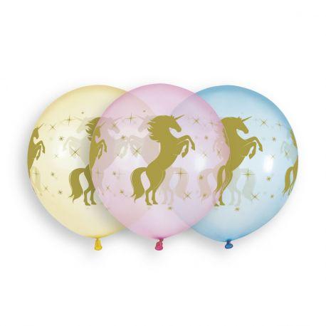 Beutel mit 3 großen Latex-Ballons in pastellfarbener Kristall-Farbe mit Gold-Einhorn-Druck!Ø 48cm