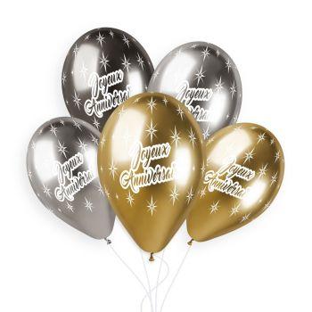 25 Ballons Happy Birthday Shiny Ø33cm