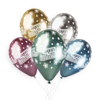 25 Ballons Happy Birthday Shiny color Ø33cm