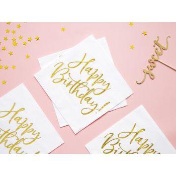 20 Servietten Happy Birthday gold