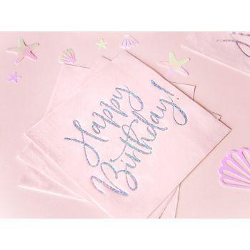 20 Servietten Happy Birthday holographisch rosa