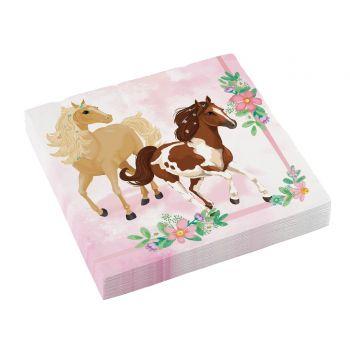 20 blühende Pferder servietten