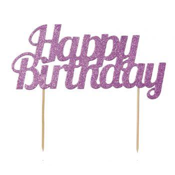 Cake topper Happy Birthday pink glitzerte