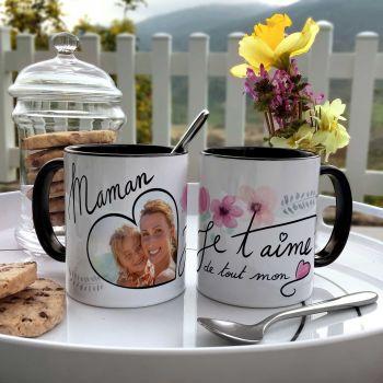 Tasse individuell zweifarbige Dekor Mama Ich liebe dich