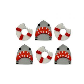 6 Mini-Zuker Figuren Hai