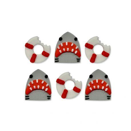 6 Hai-Zuckerdekorationen ideal für eine schöne GeburtstagstischdekorationAbmessungen: Ø 2.5-3cm