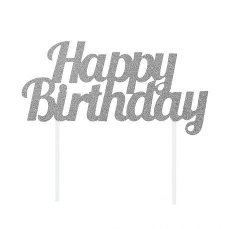 Dekor Happy Birthday Silber glitzerte auf Ihrem Geburtstagskuchen zu stechenAbmessungen: 18cm x 9cm
