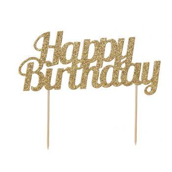Cake topper Happy Birthday gold glitzern