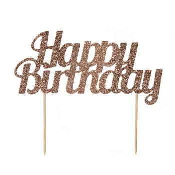 Cake topper Happy Birthday gold Glitzerrosa