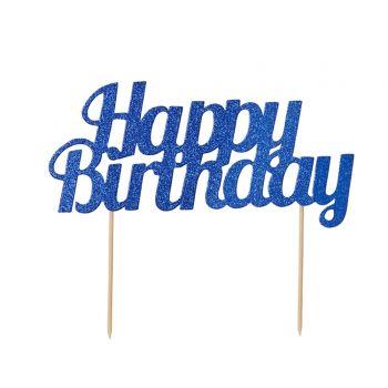 Cake topper Happy Birthday Glitzerblau