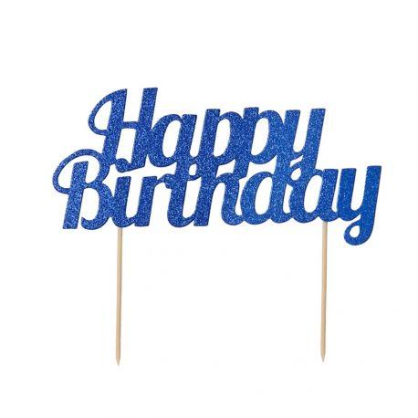 Dekor Happy Birthday blau glitzern auf Ihrem Geburtstagskuchen zu stechenAbmessungen: 18cm x 15cm