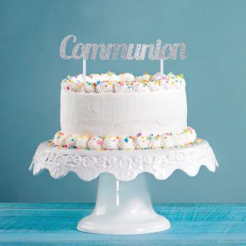 Cake topper Kommunion glitzerte Silber