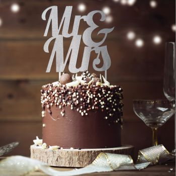 Cake topper Mr & Mrs Glitzer Silber
