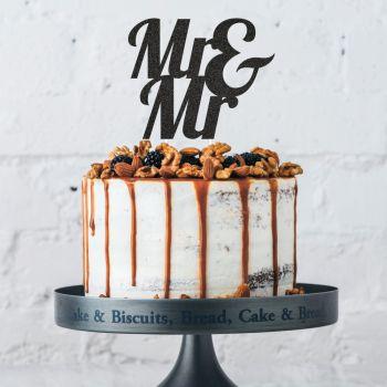 Cake topper Mr & Mr Glitzer schwarz
