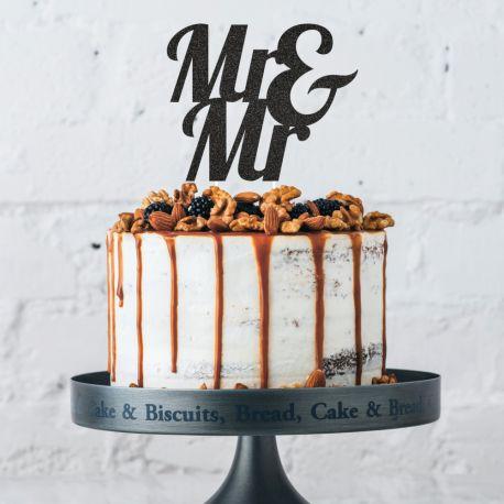 Dekor Mr & Mr glitzerte auf Ihrem Geburtstagskuchen zu stechenAbmessungen: 19.1 x 26.4cm