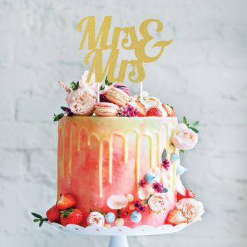 Cake topper Mrs & Mrs Glitzergold