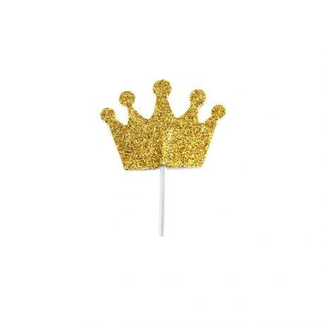 12 Glitzer-Deko-Pics Gold in Form einer Krone, um Ihre Kuchen zu schmückenAbmessungen: 3 x 3.5cm