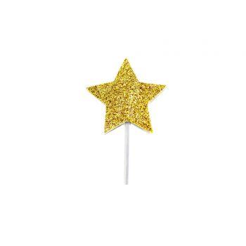 12 Cake topper Glitzer Sterne Gold