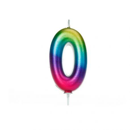 Geburtstagskerze aus Wachs in Form von Zahlen, Farbe Regenbogen irisiertZahl Nr. 0Größe 7 cm