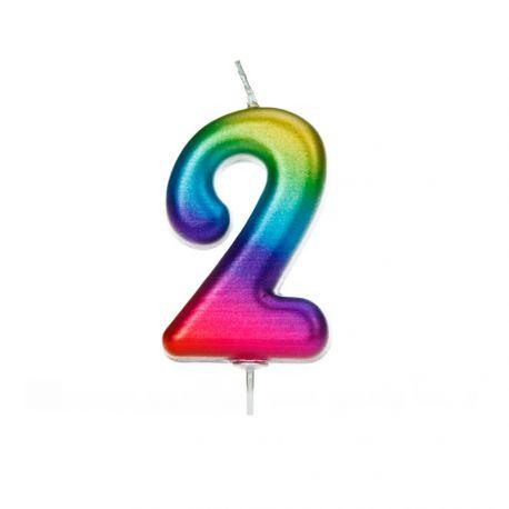 Geburtstagskerze aus Wachs in Form von Zahlen, Farbe Regenbogen irisiertZiffer Nr. 2Größe 7 cm
