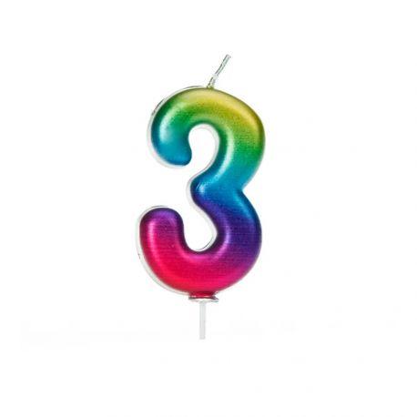 Geburtstagskerze aus Wachs in Form von Zahlen, Farbe Regenbogen irisiert Ziffer Nr. 3Größe 7 cm