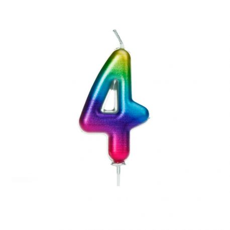 Geburtstagskerze aus Wachs in Form von Zahlen, Farbe Regenbogen irisiert Ziffer Nr. 4Größe 7 cm