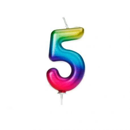 Geburtstagskerze aus Wachs in Form von Zahlen, Farbe Regenbogen irisiert Ziffer Nr. 5Größe 7 cm