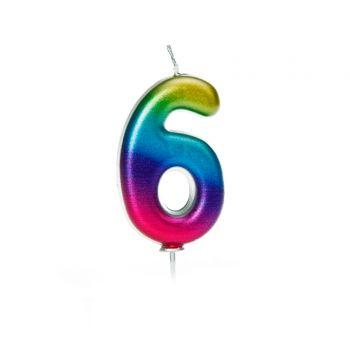 Kerze Nummer 6 rainbow irisiert