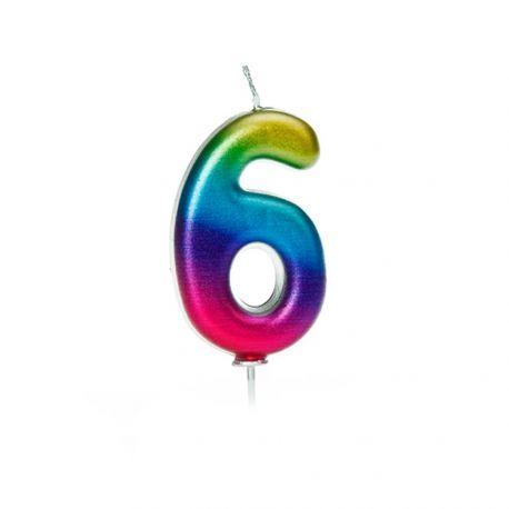 Geburtstagskerze aus Wachs in Form von Zahlen, Farbe Regenbogen irisiert Zahl Nr. 6Größe 7 cm
