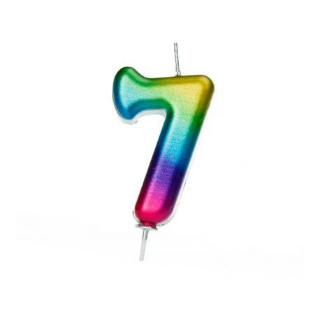 Geburtstagskerze aus Wachs in Form von Zahlen, Farbe Regenbogen irisiert Zahl Nr. 7Größe 7 cm