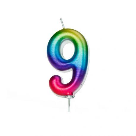 Geburtstagskerze aus Wachs in Form von Zahlen, Farbe Regenbogen irisiert Zahl Nr. 7Größe 8 cm