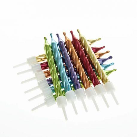12 Geburtstagskerzen aus Wachs Farbe Regenbogen irisiert mit WickelnGröße 7.5 cm