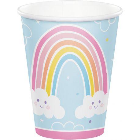 8 Happy Rainbow-Pappbecher ideal für eine schöne GeburtstagstischdekorationAbmessungen: 25cl