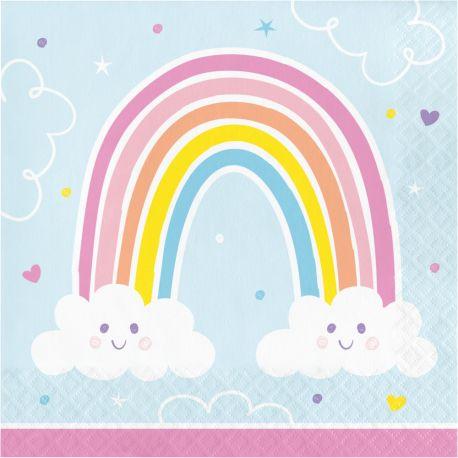 16 Happy Rainbow Papiertücher ideal für eine schöne GeburtstagstischdekorationAbmessungen: 16.5 x 16.5cm / 33 x 33cm